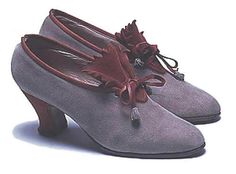 Shoes, c. 1928, Europe, the Bowes Museum. -- The reason this shoe style is important in my opinion, is that if you remove the ornate tab they are basically the precursor to shoes that would be nearly the daily uniform for women until the end of the 1940's, (and beyond).  Great shape to these.