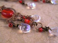 Red glass Chandelier earrings. Victorian style handmade jewelry by TheAmethystDragonfly
