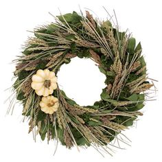 Welcome guests to your home with this lovely preserved wreath, featuring an array of autumnal grasses arranged with lovely cream-hued pumpkins.