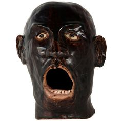 Glazed Ceramic Face | From a unique collection of antique and modern ceramics at http://www.1stdibs.com/furniture/folk-art/ceramics/