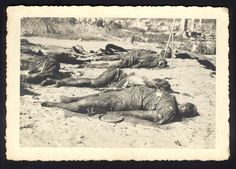 Kovno, Lithuania, Bodies of Jews burned alive in the ghetto.