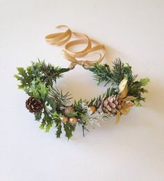 Holiday Flower Crown Gold Holiday Headband by FlowerHungry on Etsy