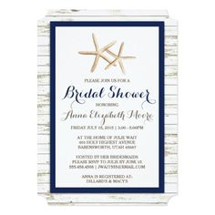 Starfish Whitewashed Wood Beach Bridal Shower Card This simple beach wedding bridal shower invitation features a whitewashed wood look background bordered in your wedding color. The focal point of the invitation is a pair of elegant starfish. Custom colors available upon request.