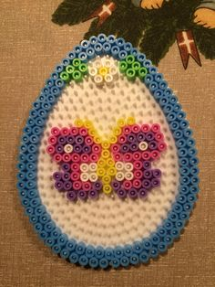 Butterfly Easter egg hama perler beads by Julie Loose