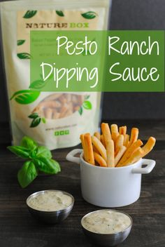 Pesto Ranch Dipping Sauce - A versatile and delicious homemade ranch dip. Serve with potato chips, crackers or veggies, or use as a salad dr...