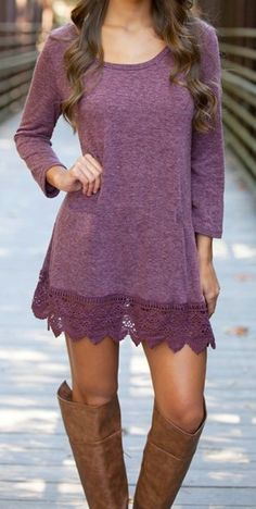 Lace dress Casual long sleeve Dress - Fall fashion