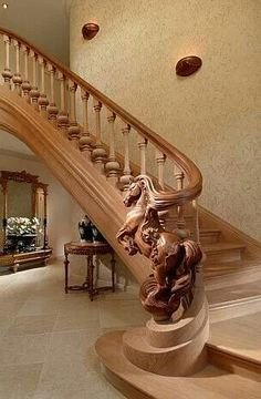 Creative art staircase banister carved as horse mabey with a Carousel horse