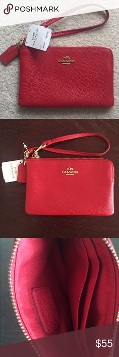 Coach wristlet w. gold accents BRAND NEW Coach wristlet with tags, never used. Perfect condition. Fits cellphone, Chapstick, money, everything! About the size of my hand. Coach Bags Clutches & Wristlets