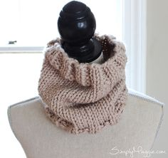 Knit cowl, made with 20% wool 80% acrylic.