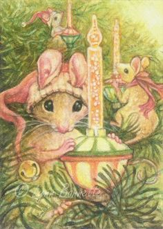 "Art by Lynn Bonnette: ""Mouse Bubble Light Crew"" jj Maus Illustration, Illustrations, Christmas Animals, Christmas Art, Vintage Christmas Cards, Christmas Pictures, Jessie Willcox Smith, Hamsters, Cute Mouse"