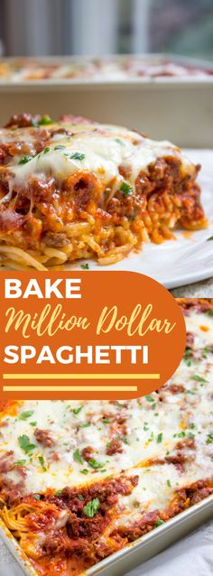 BAKED MILLION DOLLAR SPAGHETTI Dinner Recipe is part of Spaghetti recipes - Prepared Million Dollar Spaghetti is smooth with a melty cheddar focus, finished with meat sauce and additional bubbly cheddar Poses a flavor like … Yummy Recipes, Best Dinner Recipes, Gourmet Recipes, Cooking Recipes, Healthy Recipes, Recipies, Low Carb Fast Food, Spaghetti Dinner, Chicken Spaghetti