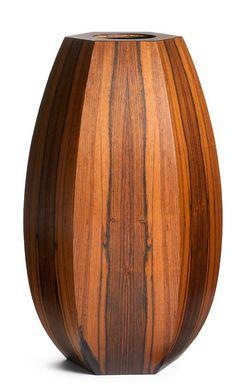large hexagonal brazilian rosewood floor vase - Wooden Floor Vase