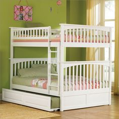 Atlantic Furniture Columbia Style Full Over Full Bunk Bed in White