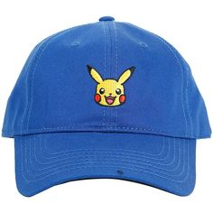 Pokemon Pikachu Curved Bill Hat Hot Topic (190 MXN) ❤ liked on Polyvore featuring accessories, hats, accessories - hats, hot topic, embroidery hats, hot topic hats, embroidered hats and bills hat