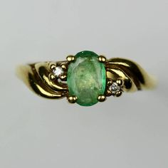Vintage 9Ct 9K 375 Solid Yellow Gold Oval Cut Emerald &