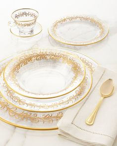 Oro Bello  Dinner Plates Set of 4  Oro Bello  Cups u0026 Saucers Set of 4  Oro Bello  Soup Bowls Set of 4 & Pierced Flatware Caddy | Serveware Flatware and Dinnerware
