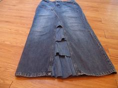 Upcycled Denim Skirt | Upcycled Denim skirt-Floor length size 10p