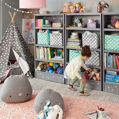When you think of storage, you probably think bins, baskets, and dressers. Let us help you organize your space by using bookcases for a stylish space. Kids Room Organization, Playroom Organization, Organized Playroom, Organizing Toys, Kids Storage, Storage Design, Storage Ideas, Toy Storage, Playroom Design