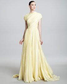 Carmen Marc Valvo Couture Cap-Sleeve High-Neck Gown