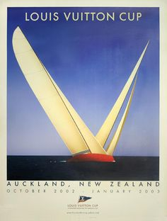 Louis Vuitton Cup. Auckland, New Zealand sailing vintage poster