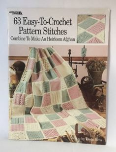 Easy to Crochet Pattern Stitches Book Afghan Designs Leisure Arts Leaflet  555