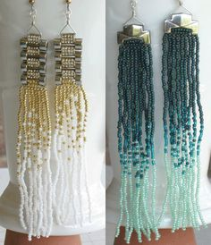 Watch Link Earrings with Ombre Fringe