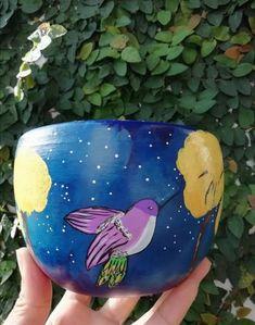 Planter Pots, Gardening, Pretty, Hummingbird Art, Painted Flower Pots, Mud, Yellow, Manualidades, Lawn And Garden
