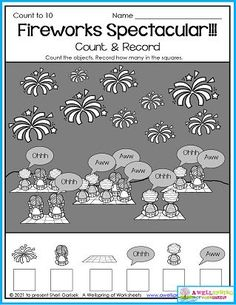 Kindergarten Counting Worksheets for the month of July. My 30 page set includes summer and Fourth of July themes (like this one!). Please check it out! Counting Worksheets For Kindergarten, Summer Worksheets, Graphing Worksheets, Alphabet Tracing Worksheets, Kindergarten Age, Tracing Letters, Upper And Lowercase Letters, Lower Case Letters, Writing Lines