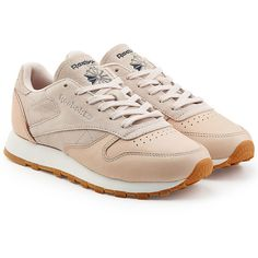 Reebok Leather and Suede Sneakers ($105) ❤ liked on Polyvore featuring shoes, sneakers, pink, suede trainers, pink sneakers, pink shoes, genuine leather shoes and reebok footwear