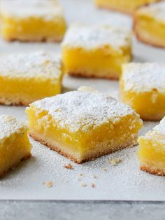 TESTED & PERFECTED RECIPE – With a buttery shortbread crust & a luscious lemon filling, these lemon bars are as pretty as they are delicious! Lemon Desserts, Lemon Recipes, Dessert Recipes, Potluck Desserts, Easter Desserts, Avocado Recipes, Easter Treats, Dessert Bars, Food Processor Recipes