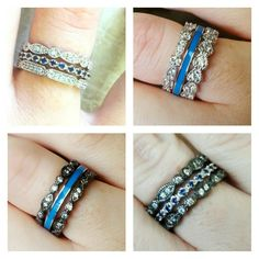 Thin blue line stackable rings. Police wife.....because somebody needs to represent. <3