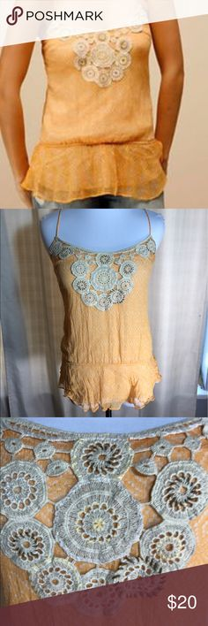 Free people boho chiffon crochet Cali tank top Pre owned free people mango orange tank. In good condition . Size xs Free People Tops Tank Tops