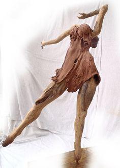 Dancer in Driftwood dress sculpture by Tony Fredriksson www.openskywoodart.com