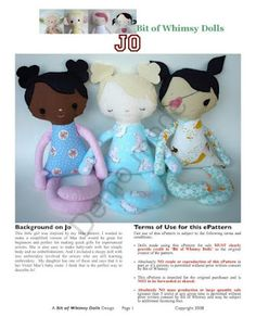 Jo Doll. Free pattern #dolls #softies #sewing #toys