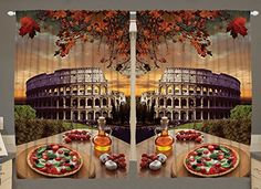 Rome Colosseum Italy Pizza Fall Leaves 55 W X 39 L Inch European Italian Picture Kitchen Dining Room Vintage Home Decor Curtain Panels Art Prints 2 Panel Curtains Machine Washable Ambesonne http://www.amazon.com/dp/B017WFEGV4/ref=cm_sw_r_pi_dp_RPx-wb1D6VFQ4