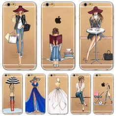 Case cover untuk iphone 6 6 s 4.7 inch mode modern sexy dress Lip Belanja Topi Gadis Dicat Transparan Lembut TPU Kembali Kasus Capa
