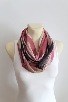 Pink Geometric Scarf Infinity Scarf Printed Infinity Unique Women Scarf Boho Infinity Scarf Birthday Gift for Her Spring Autumn Celebrations