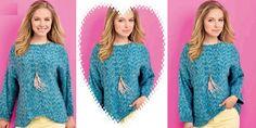 Вязаный спицами пуловер с декоративным низом Comey http://vjazhi.ru/jenskaya-vyazanaya-odejda-s-opisaniem/pulovery/pulover-s-dekorativnym-nizom-comey.html