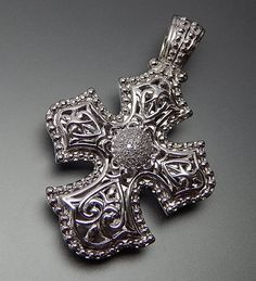 Sterling Silver Ornate Cut Through Diamond Accents Cross Pendant / Enh – Gold Stream Boutique Sterling Silver Cross Pendant, Silver Pendants, Sterling Silver Jewelry, Silver Ring, Silver Metal, Silver Bracelets, 925 Silver, Silver Earrings, Vintage Silver Jewelry