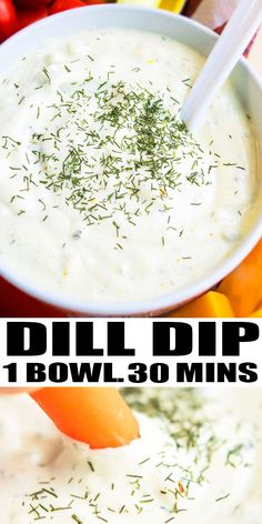 Classic, quick, easy, creamy dill dip recipe, homemade with simple ingredients in one pot or bowl in 10 minutes. Serve it with chips and veggies. Best Appetizers, Appetizer Recipes, Simple Appetizers, Dinner Recipes, Dill Veggie Dips, Vegetable Dip Recipes, One Pot Meals, Easy Meals, Dill Dip Recipes