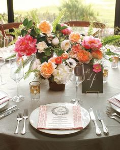Another word for table arrangement or centerpiece. It's most often used when each table has multiple components.
