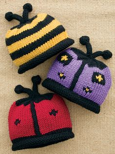 Buggie baby hats - free pattern. Bees, butterflies and ladybirds. Too cute - and easy too!