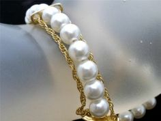 "Vintage Goldette Pretty Pearl Bracelet 7 5"" Long Gold Designer Signed Estate 