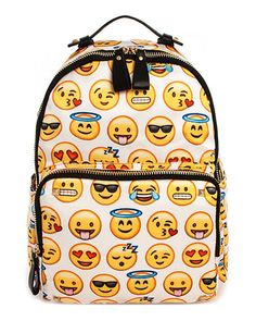 This soft and durable backpack has got us looking like the heart eyes emoji! All your favorite yellow face emojis are patterned all over this white and black trimmed backpack. A gold toned zipper open