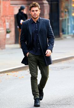 "Zac Efron looked runway-ready shooting ""Are We Officially Dating?"" in NYC Dec. 20."