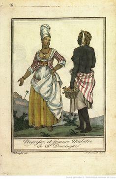 [pl.16 en reg. p.4 : Saint-Domingue.] Nègre et femme mulatre de Saint-Domingue. [cote : Réserve F 24 G76 1796]