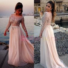2014 Beads Long Sleeves Prom Party Dresses Plus Size Chiffon Formal Evening Gown