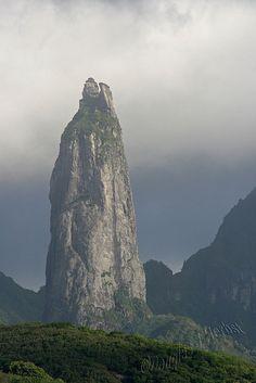 Poumaka, one of several volcanic basalt pillars on Ua Pou, Marquesas Islands, French Polynesia