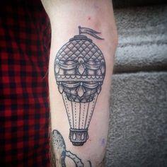70 wonderful balloon tattoo options and get impressed Dot Work Tattoo, S Tattoo, Back Tattoo, Air Balloon Tattoo, Hot Air Balloon, Balloon Words, Tattoo Inspiration, Tattoo Artists, Piercings