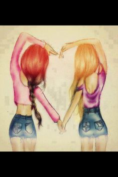 I didn't draw but really cute Looks a bit like me and my bff :) Best Friend Drawings, Bff Drawings, Ballet Drawings, Amazing Drawings, Illustration Book, Art Illustrations, Marinette E Adrien, Kristina Webb, Best Friends Forever